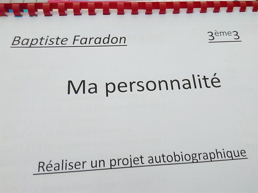 Projet Autobiographique 3e College Raymond Gueux De Gy