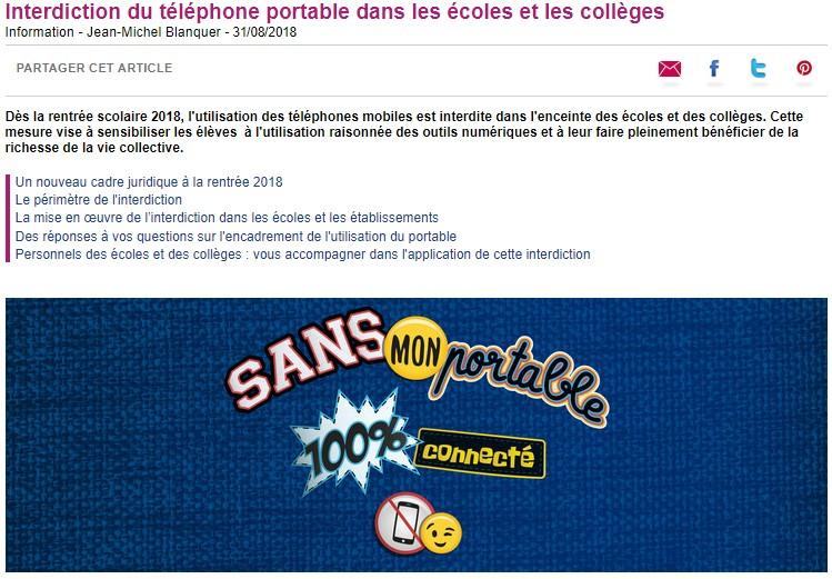 Interdiction du portable au collège   information nationale ... 150cffc300c
